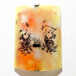 Applique d ambiance coloree motif tete de chat sur fond jaune orange chamarre 5