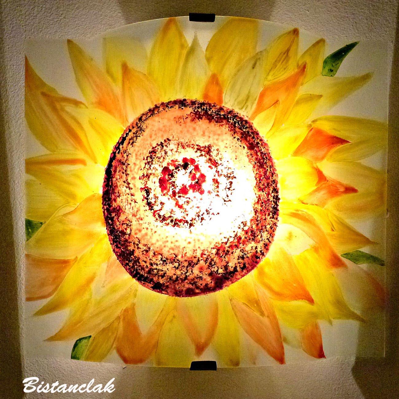 applique en verre motif fleur de tournesol