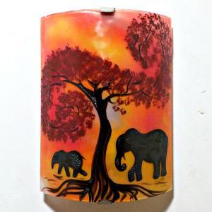 Applique décorative jaune orange et rouge motif éléphant