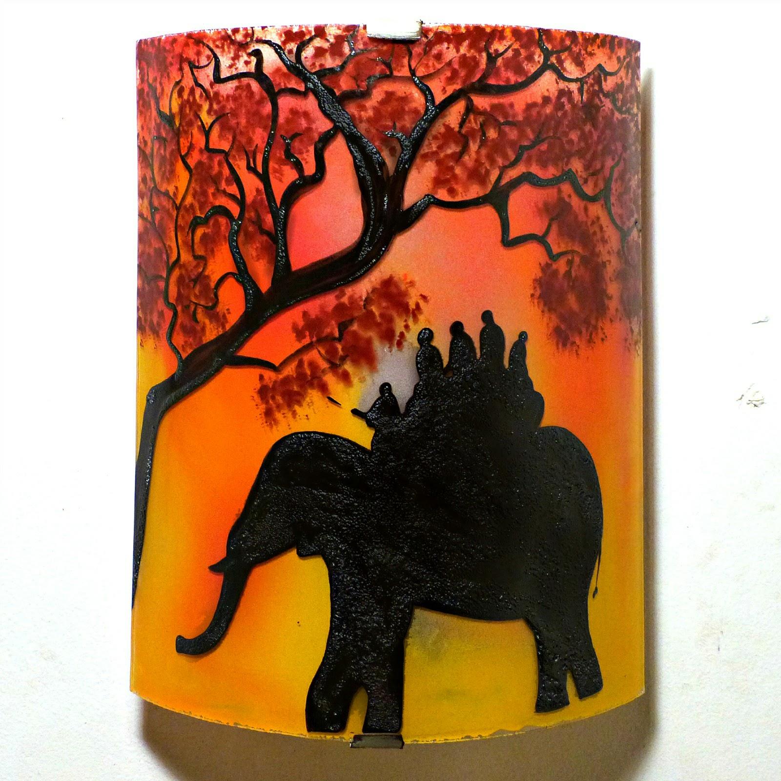 Applique d ambiance demi cylindre motif ballade a dos d elephant en jaune orange et rouge 1