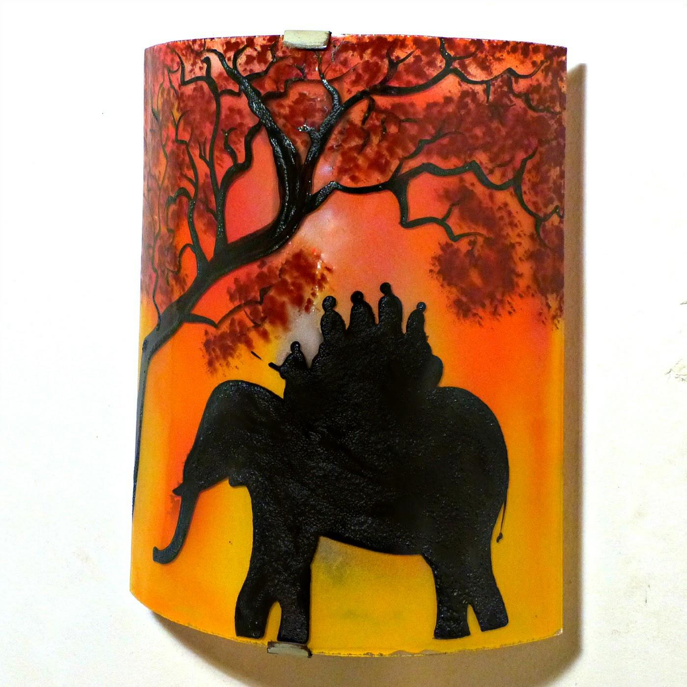 Applique d ambiance demi cylindre motif ballade a dos d elephant en jaune orange et rouge 3