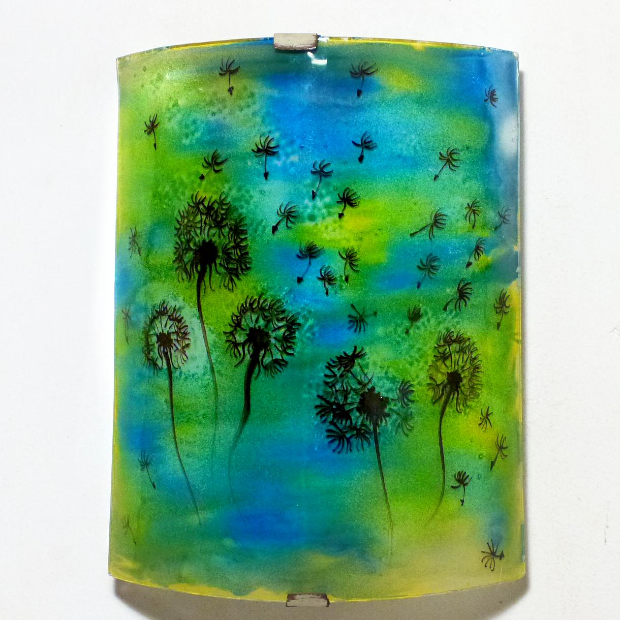 Applique d ambiance demi cylindre motif pissenlit de couleur jaune et bleu 2