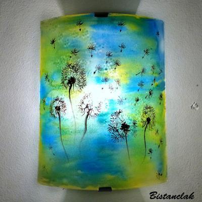Applique d ambiance demi cylindre motif pissenlit de couleur jaune et bleu 4