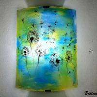Applique d ambiance demi cylindre motif pissenlit de couleur jaune et bleu 5