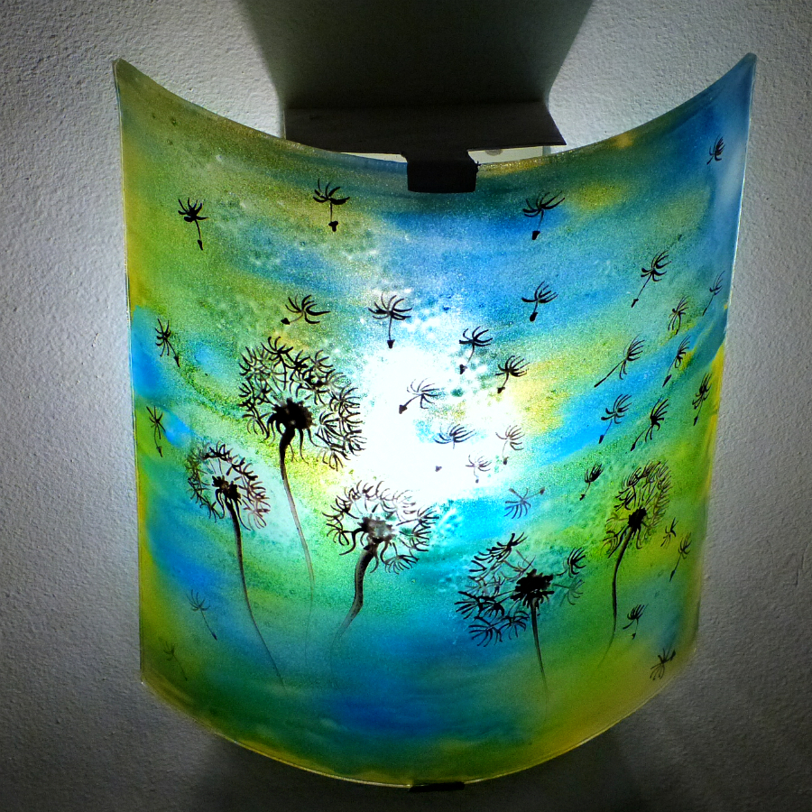 Applique d ambiance demi cylindre motif pissenlit de couleur jaune et bleu 6