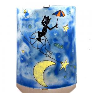 luminaire mural bleu motif le funambule et la lune
