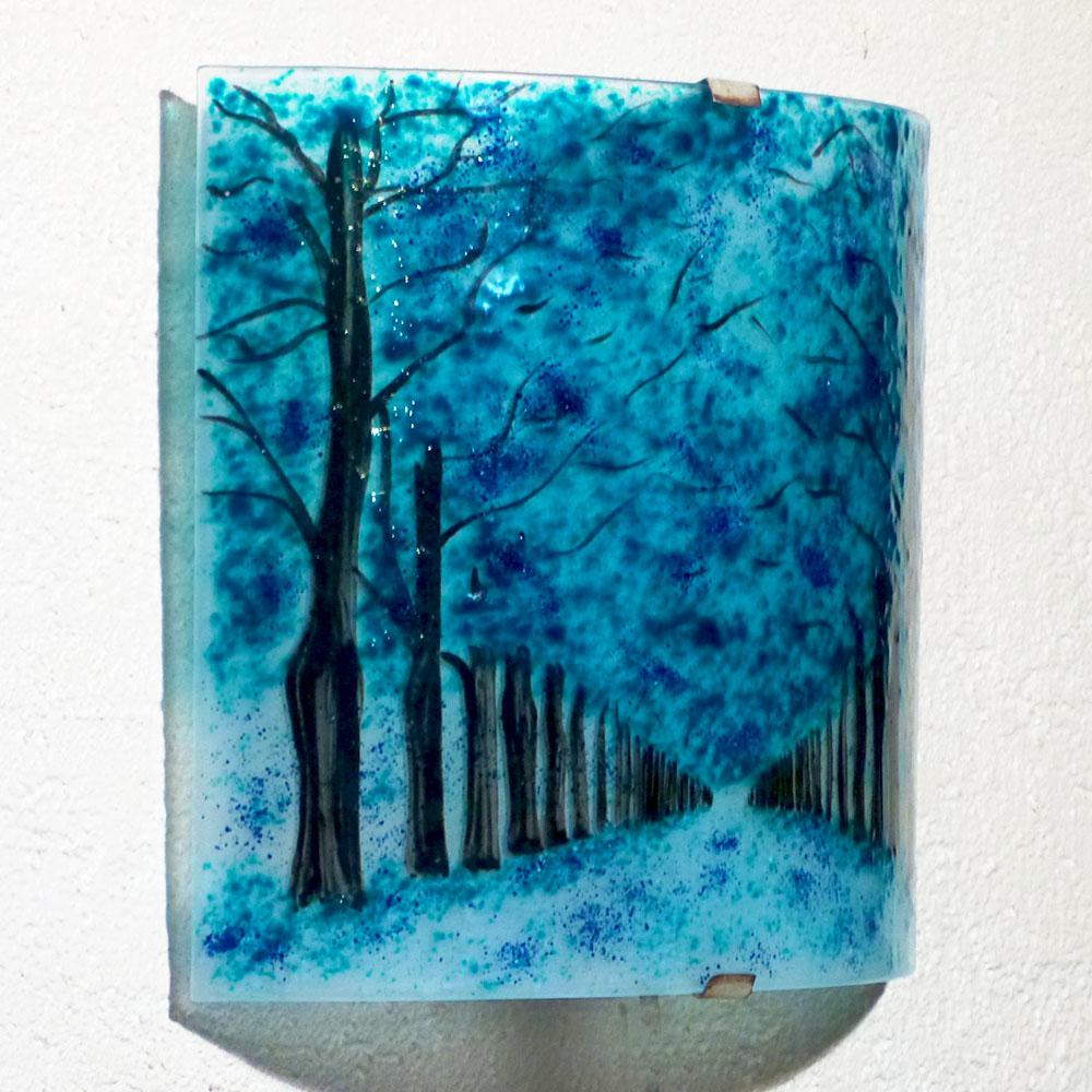 Applique d ambiance motif chemin borde d arbres bleu