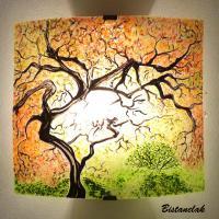 Applique d ambiance motif dans le sous bois en automne jaune orange vert creation artisanale par bistanclak 4