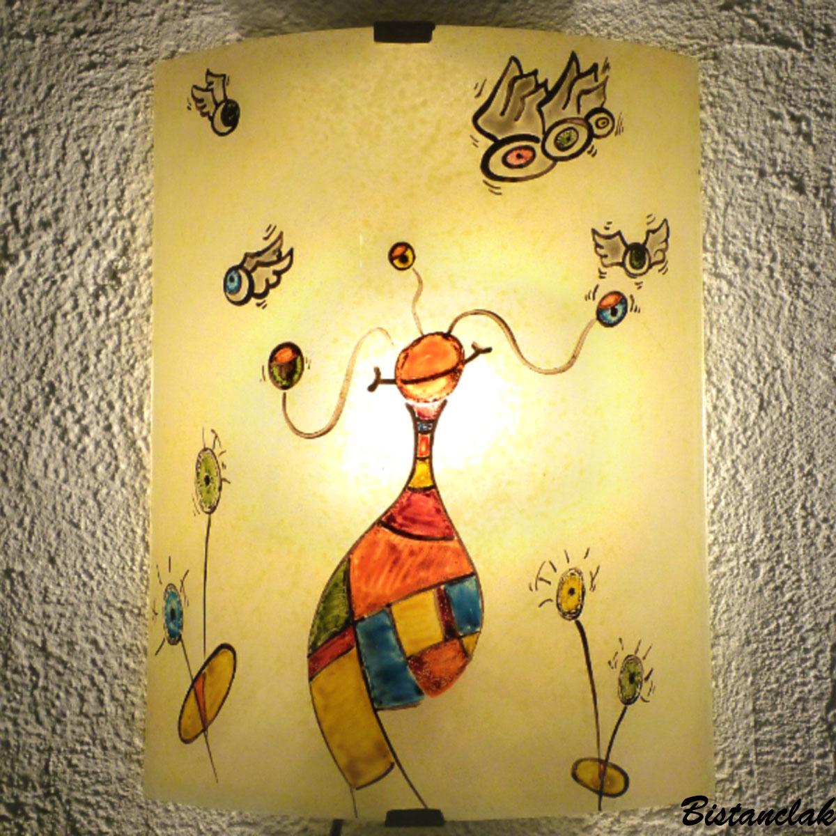 applique en verre au motif fantaisie tendance street art