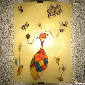 Applique d ambiance multicolore au motif fantaisie de globulle et les gronoeil; fabrication artisanale française par Bistanclak