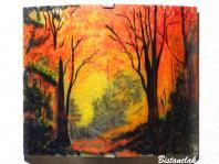 Applique d ambiance nature au dessin d une clairiere d automne une fabrication artisanale francaise