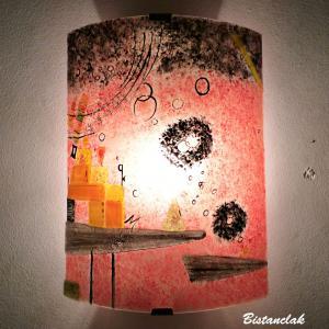Applique d ambiance rouge et multicolore au design geometrique d apres kandinsky