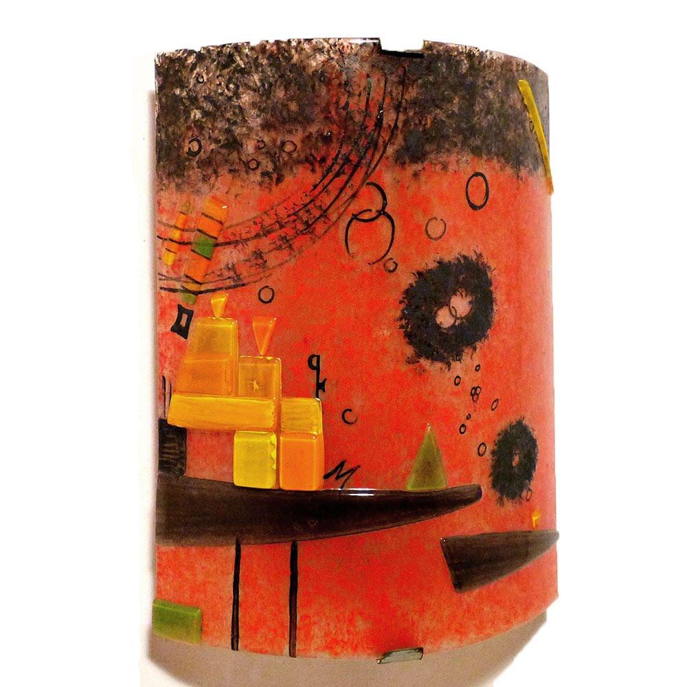 Applique d ambiance rouge et multicolore au graphisme geometrique inspire de schweres rot par kandinsky 9
