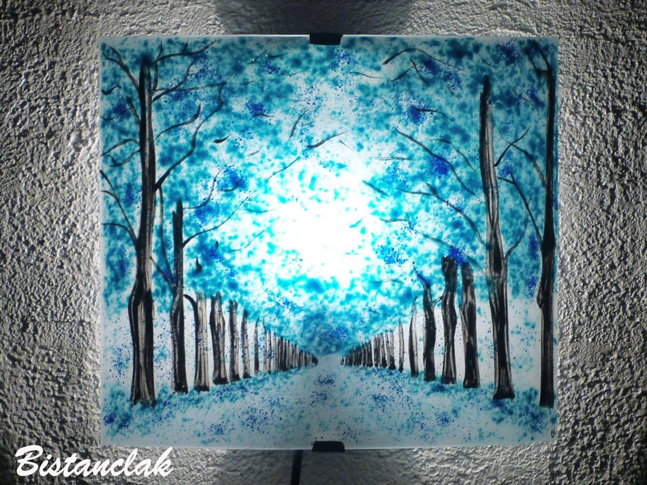 Applique d ambiance turquoise motif chemin borde d arbres bleu une creation artisanale par bistanclak