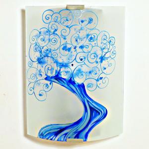 Applique decorative artisanale blanche motif arbre a spirales bleu 4