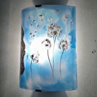 Applique decorative artisanale bleu cyan motif le vol du pissenlit 1