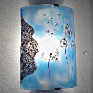 Applique decorative artisanale bleu cyan motif le vol du pissenlit 2