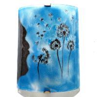 Applique decorative artisanale bleu cyan motif le vol du pissenlit 3