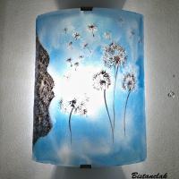Applique decorative artisanale bleu cyan motif le vol du pissenlit 4