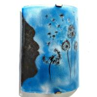 Applique decorative artisanale bleu cyan motif le vol du pissenlit 6