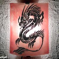applique decorative rouge clair motif dragon