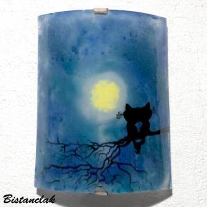 Applique decorative bleu au dessin de deux chats enlaces sous la lune