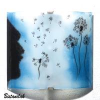 Applique decorative demi cylindre bleu cyan motif l envol du pissenlit vendue en ligne