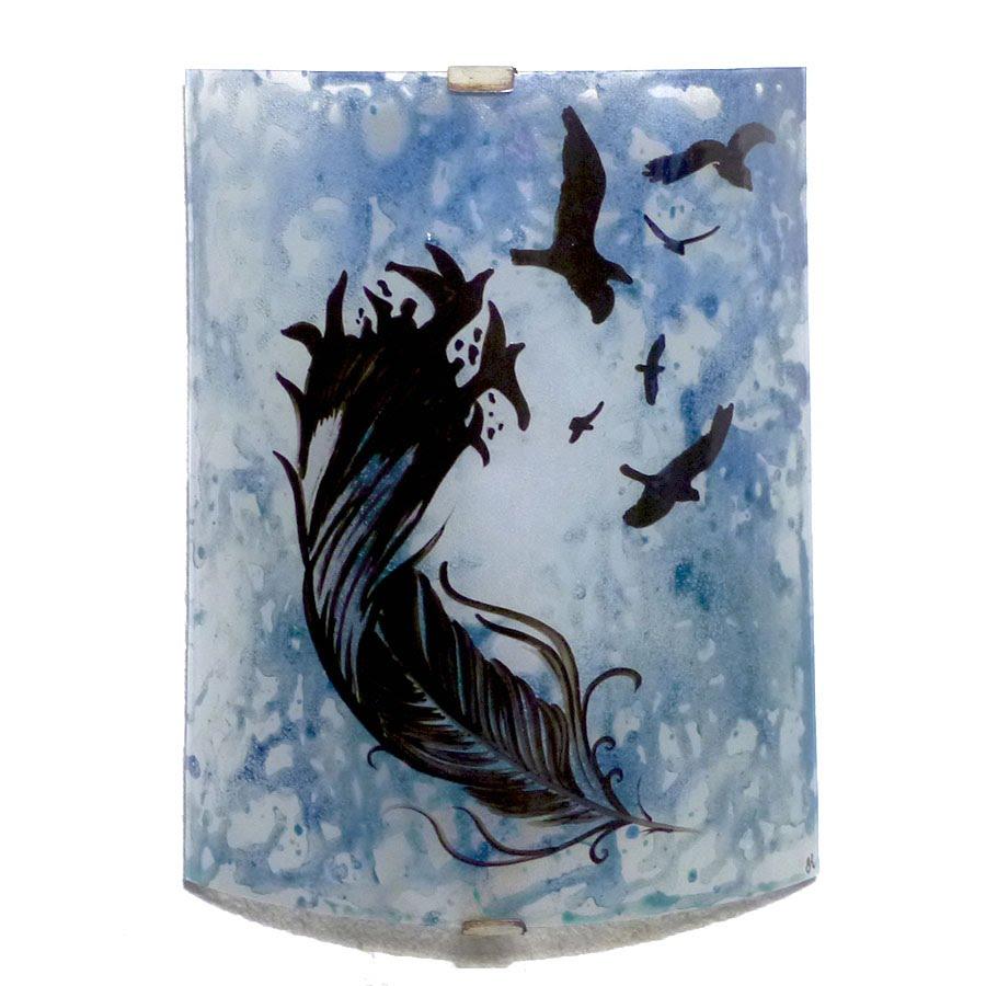 Applique decorative demi cylindre couleur sur mesure motif de la plume a l oiseau 2