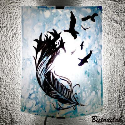Applique d'ambiance bleu motif De la plume à l'oiseau