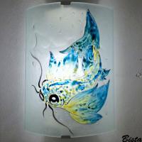 Applique decorative demi cylindre motif carpe jaune e t bleu 1
