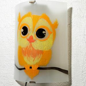 Applique decorative demi cylindre motif joli hibou jaune et orange 1