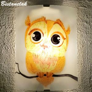 Applique decorative demi cylindre motif joli hibou jaune et orange 2