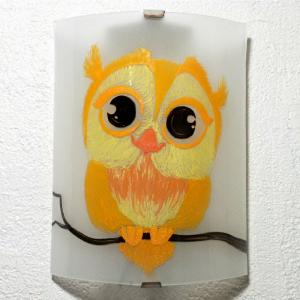 Applique decorative demi cylindre motif joli hibou jaune et orange 3