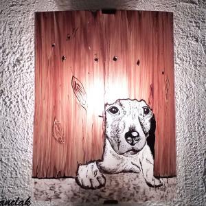 Applique decorative demi cylindre motif petit chien sous la barriere fabrication artisanale francaise par bistanclak 2