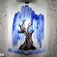 lampe applique motif saule pleureur bleu