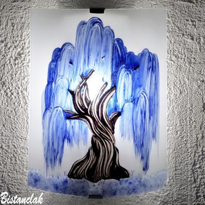 Applique décorative motif saule pleureur bleu cobalt