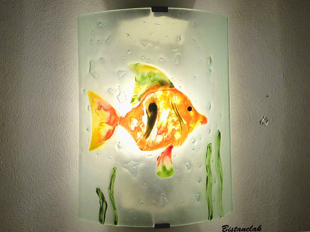 Applique decorative et eclarainte motif poisson orange vert et jaune fabrication artisanale francaise 10