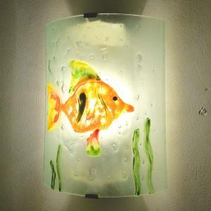 Applique decorative et eclarainte motif poisson orange vert et jaune fabrication artisanale francaise 11