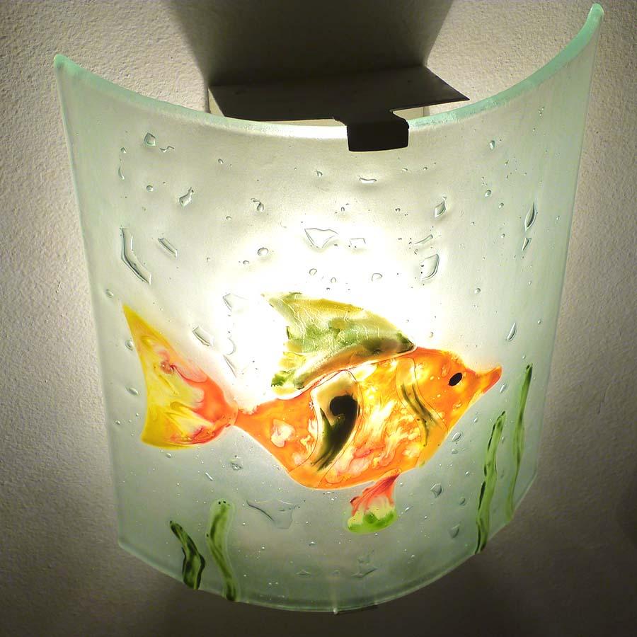 Applique decorative et eclarainte motif poisson orange vert et jaune fabrication artisanale francaise 12