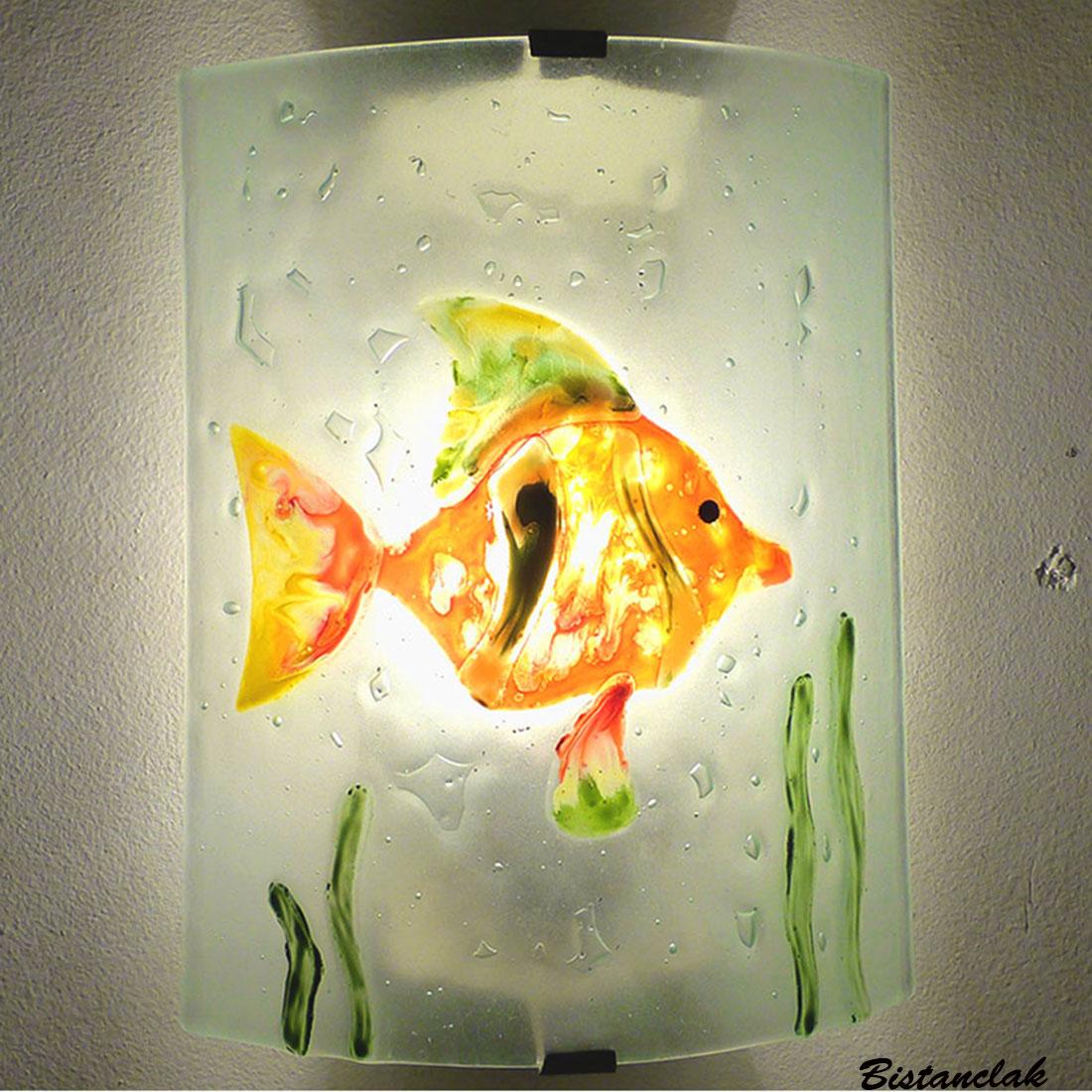 applique motif poisson orange vert et jaune