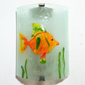 Applique decorative et eclarainte motif poisson orange vert et jaune fabrication artisanale francaise 8