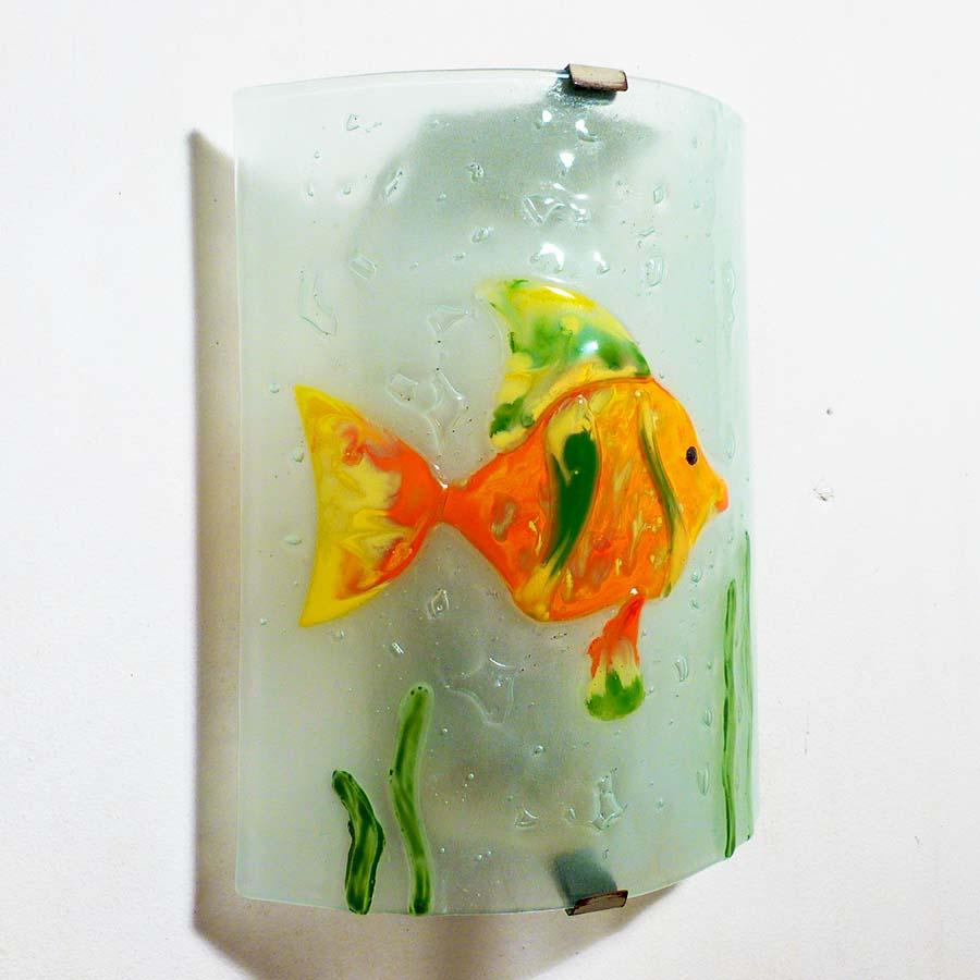 Applique decorative et eclarainte motif poisson orange vert et jaune fabrication artisanale francaise 9