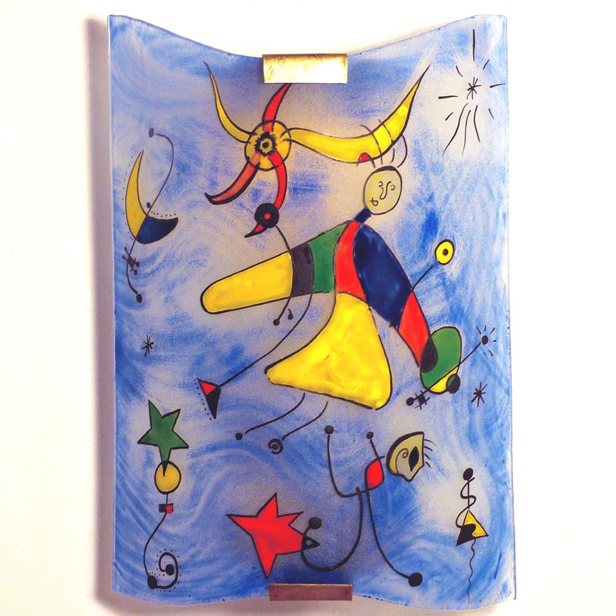 Applique decorative fantaisie bleu et multicolore motif le ciel de miro 1