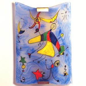 Applique decorative fantaisie bleu et multicolore motif le ciel de miro 1