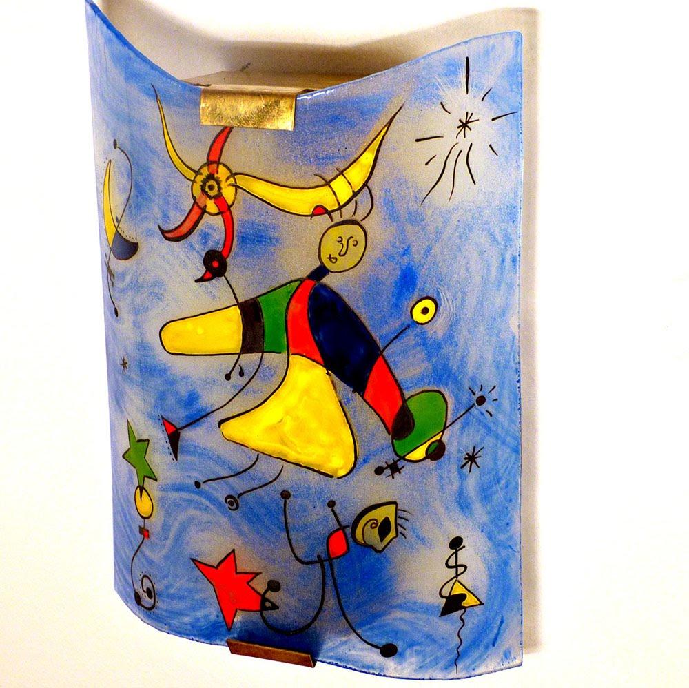 Applique decorative fantaisie bleu et multicolore motif le ciel de miro 2