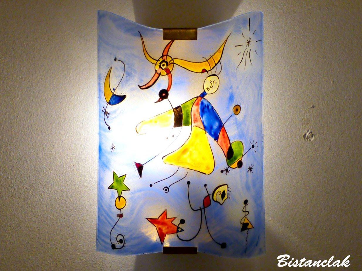 Applique decorative fantaisie bleu et multicolore motif le ciel de miro 3