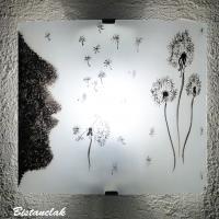 Applique sobre blanche et noire motif l envol du pissenlit vendue en ligne sur notre site un luminaire artisanal fabrique par bistanclak