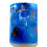 Applique demi cylindre artisanale bleu cobalt motif tete de cheval 4