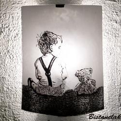 Applique noire et blanche motif le garçon et l'ourson