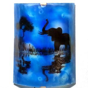 Applique demi cylindre decorative bleu cobalt motif elephant au bord de l eau creation artisanale francaise par bistanclak 4